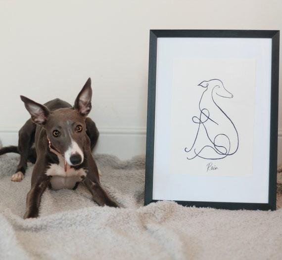 Whippet / Italian Greyhound Personalised Line Art Print
