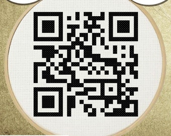Rick Rolled QR Code Cross Stitch Pattern, DIY Embroidery, Small Hoop Art, Subversive Needlepoint - PDF, Instant Download