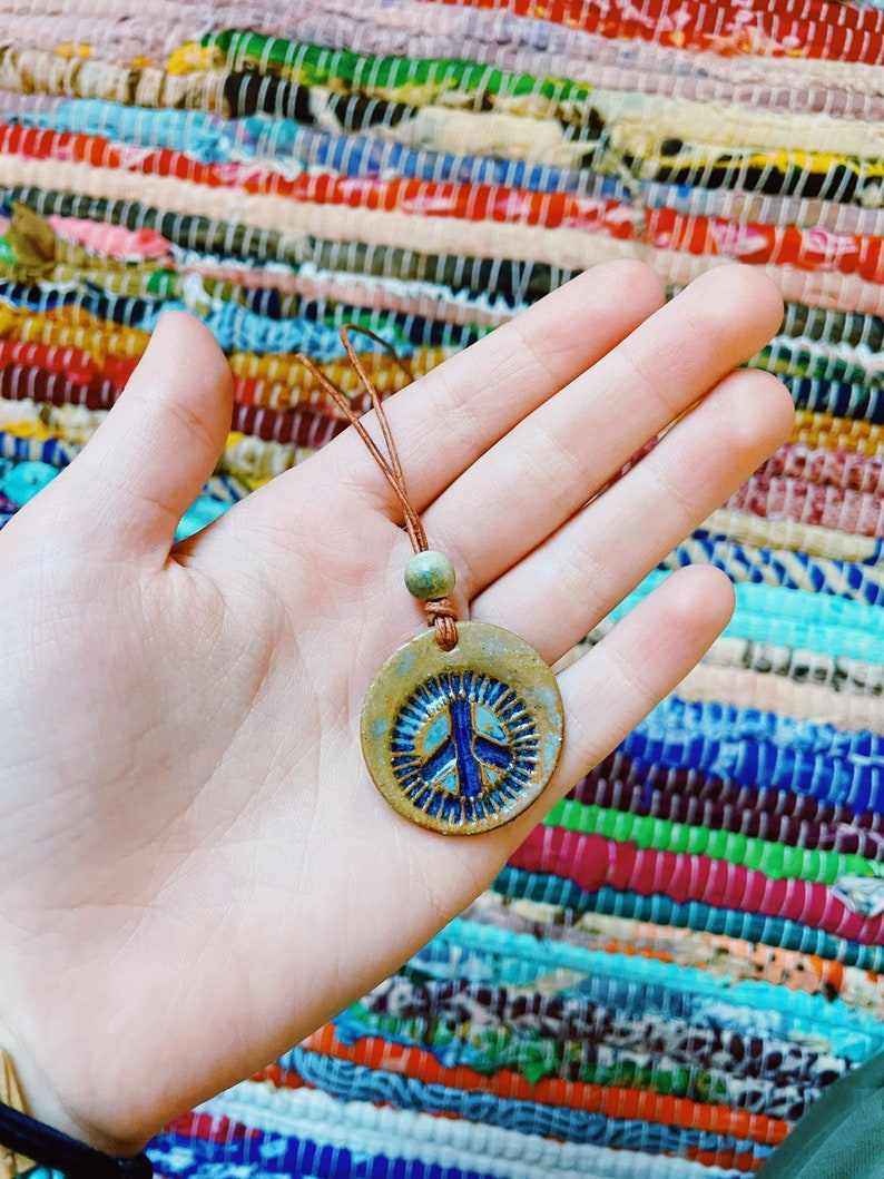 brown cord Peace sign necklace