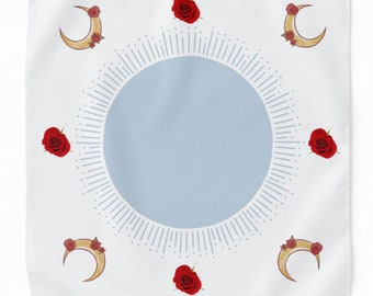Simplicity Tarot reading altar Cloth white blue red roses crescent moon
