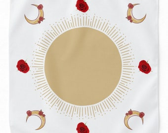 Simplicity Tarot reading altar Cloth white red roses crescent moon