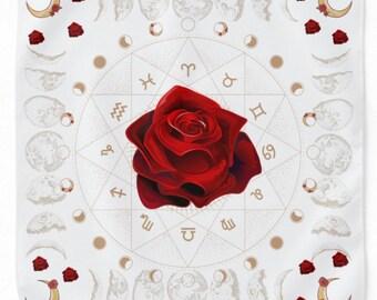 Simplicity Tarot Red  Rose Tarot Cloth white
