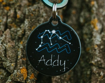 Details about  /Stainless Steel Zodiac Astrology Horoscope Star Sign Dog Tag Keychain Ring