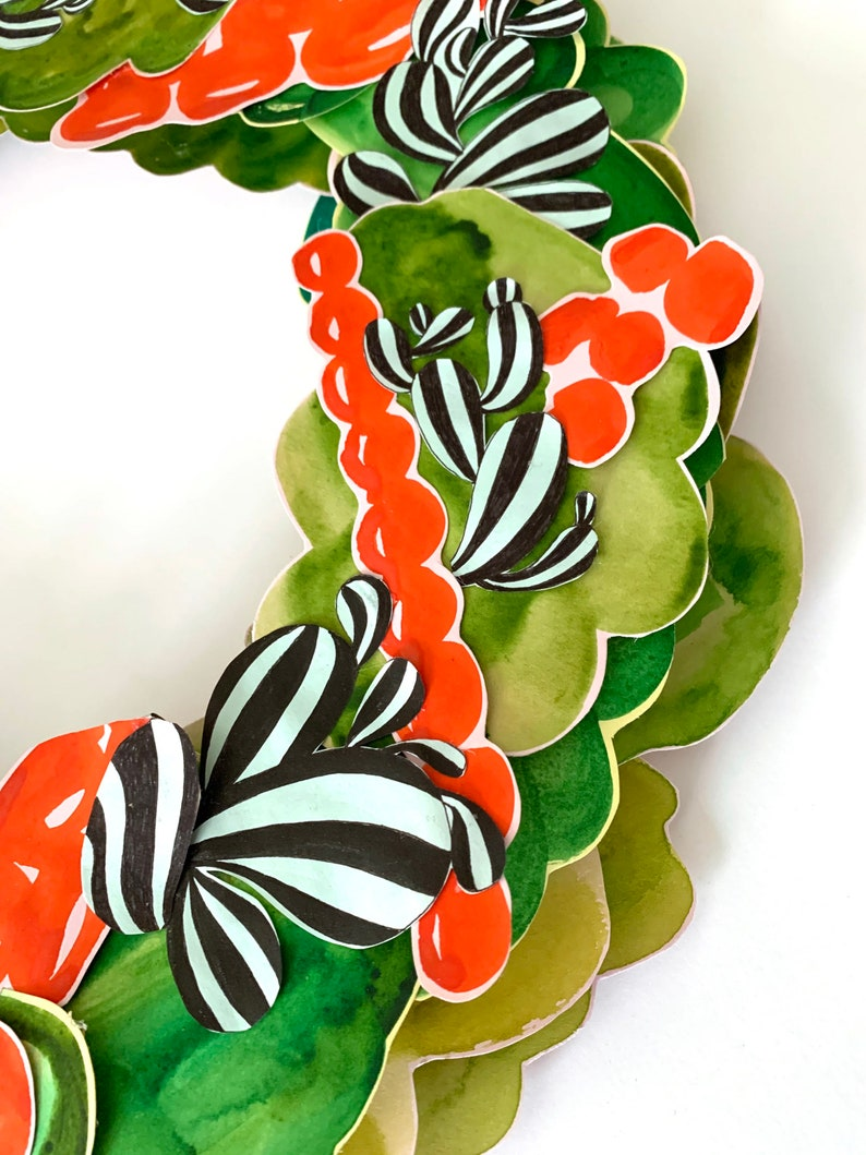 Hand Made and Hand Painted Original Collage Christmas Paper Wreath by Miriam Dubinsky