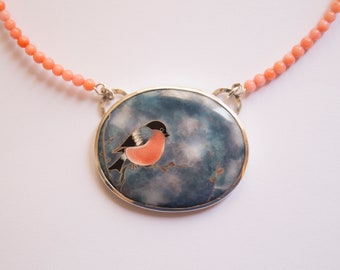 Sterling Silver, bird necklace, Bullfinch Necklace, pink coral necklace, gift for bird lovers, gift for birdwatchers