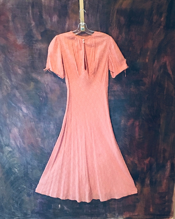 Pastel Coral 1930s Bias Cut Dress