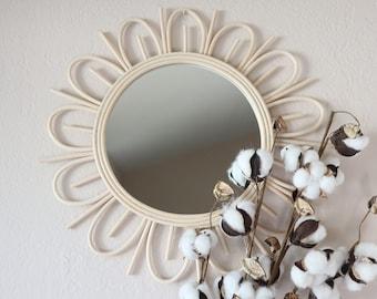 Rattan Sun Handmade Round Mirror | Modern Boho Wicker Framed Wall Mirror | Bohemian Nursery Sunflower Wall Decor