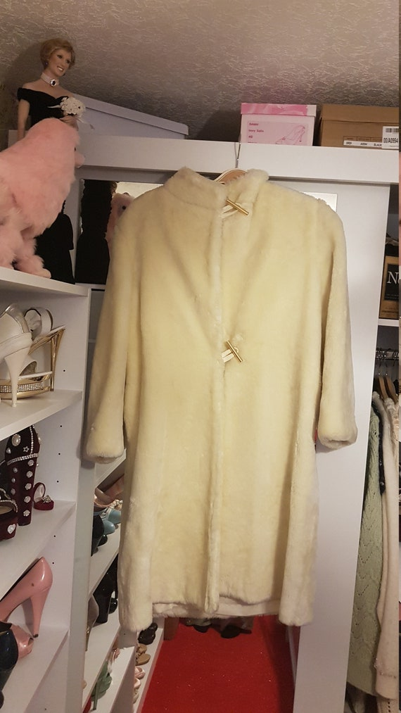 Pure Cream Fur Coat With Gold Buttons