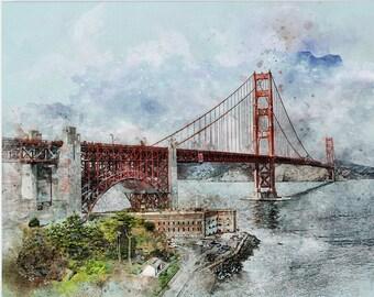 San Francisco Van-Go Paint-By-Number Kit Golden Gate Bridge