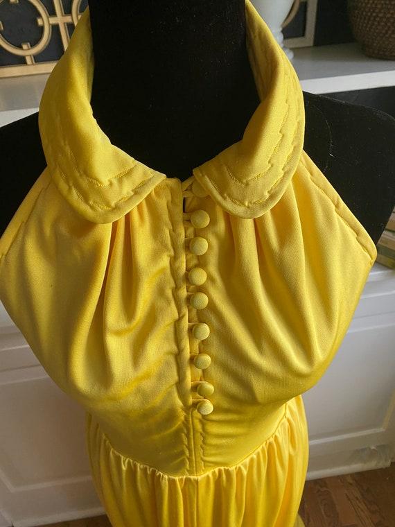 1970s Bright Yellow Halter Maxi Dress - image 3