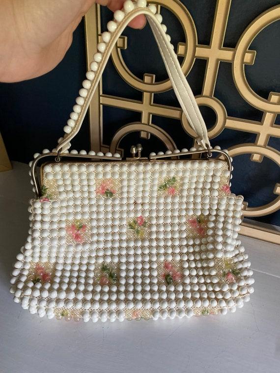 Vintage Grandee Bead Beaded and Embroidered Handba