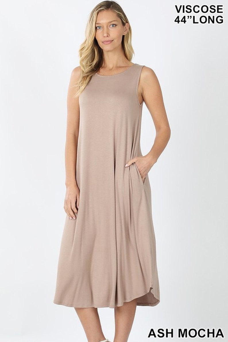 44 Standard Size Long Sleeveless Round Neck Maxi Dress With Pockets Buy Two Save 12.50-FAST FREE SHIPPING