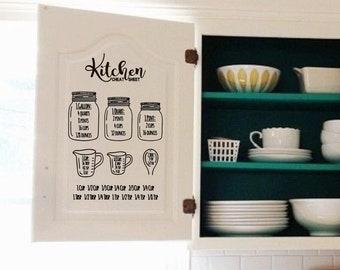 Vinyl Kitchen Conversion Chart   Cabinet Decal   Baking Cheat Sheet   Kitchen Measurements   Baking Sticker   Vinyl Home Decals   DIY Vinyl
