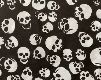 """New Cotton Twill Print Face Masks Fabric Black & White Skulls  Made In USA 54"""" W"""