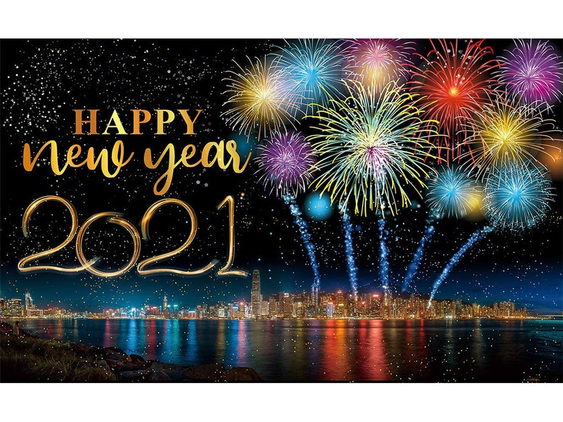 Happy 2021 New Years Eve Party DecorationsLarge Fabric image 0