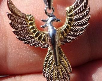 Three Tone Phoenix Sterling Silver Pendant
