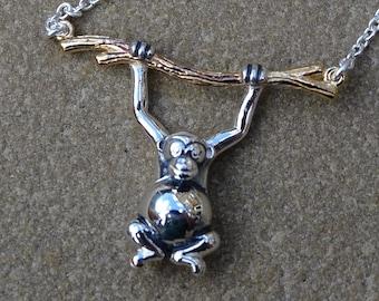 Monkey Sterling Silver Necklace