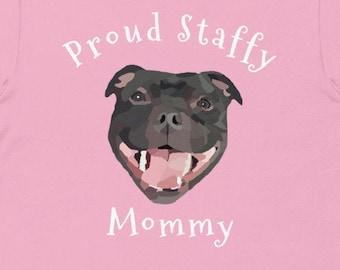 Proud Staffy Mommy / Staffordshire Bull Terrier Mum Short-Sleeve Unisex T-Shirt
