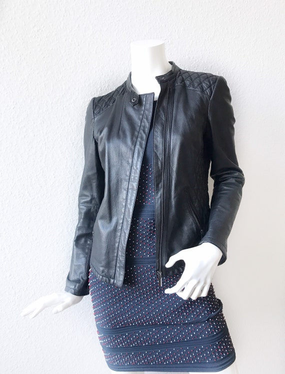 Women. Leather. Classic.  Slim. Fit. Biker. Jacket