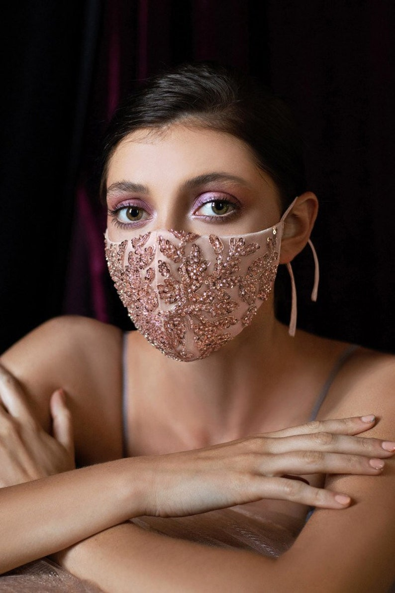 1930s Wedding History The Couture Beaded Rosegold Floral Antoinette Face Mask w Nose Wire/ Perfect for Fashion Bridesmaid Quincenera Formal Sweet 16 Pageant $28.00 AT vintagedancer.com