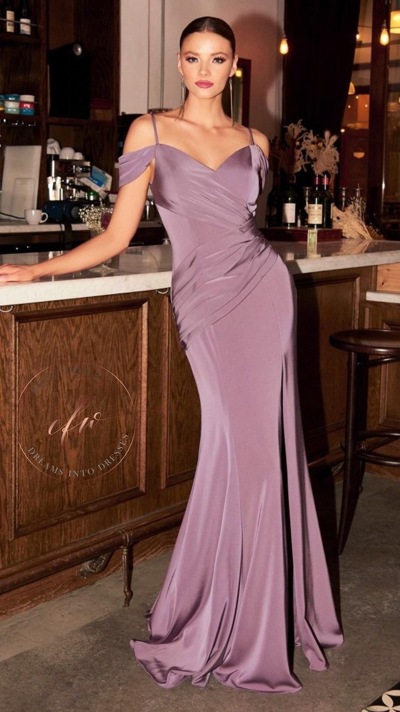 Vintage Style Dresses | Vintage Inspired Dresses The Diana Draped Stretch Fitted Off Shoulder Gown $150.00 AT vintagedancer.com