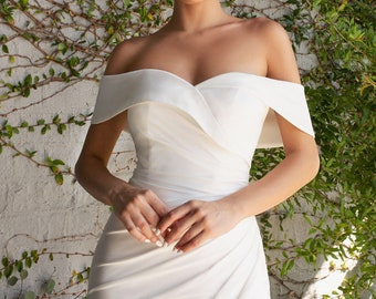 The White Isabella Off Shoulder Jersey Bridal Gown, Affordable Wedding Gown, Civil Wedding, Micro Wedding