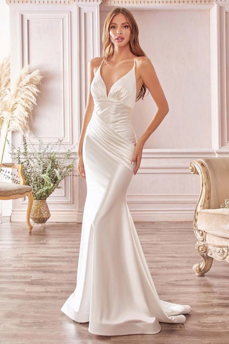 1930s Wedding History The Maya White Satin Mermaid Bridal Gown $160.00 AT vintagedancer.com