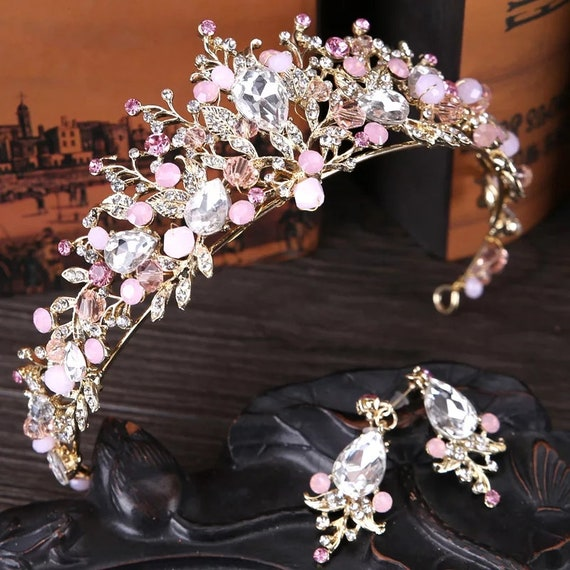 Tiara Pink Gold Pearl Bridal Crowns Handmade Tiara Bride Headband Crystal Wedding Diadem Queen Crown Wedding Hair Accessories,tiara svg