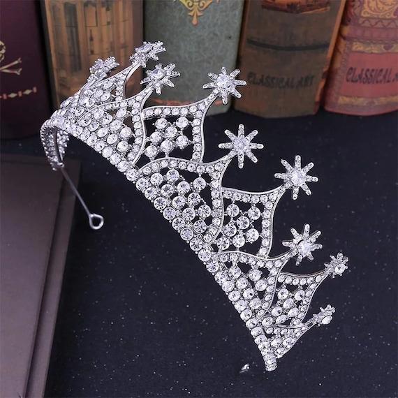 Handmade Princess Jewelry Large Full Circle Rhinestones Queen Pageant Crown Bridal Hair Jewelry Wedding Dress Accessories,Gold tiara