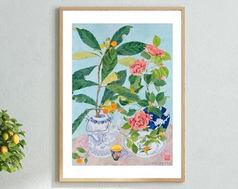 Chinoiserie Art Print , Watercolor Painting Wall Art , Flowers Still Life , Fruit Plant Wall Decor , Chinese Ceramics 12x16 18x24 24x32