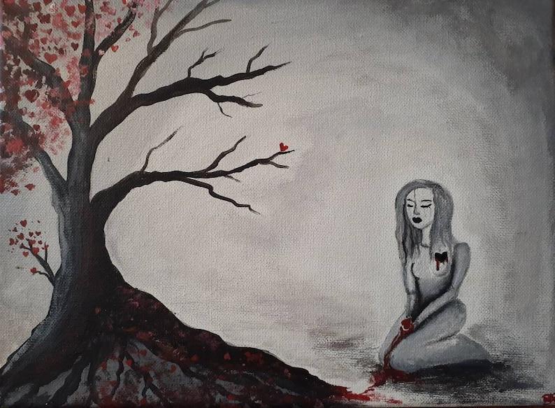 Jealousy Kills 9x12 Acrylic Painting