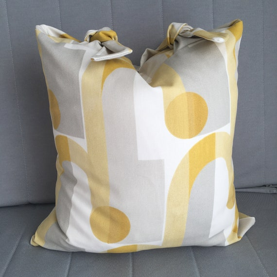 Yellow & Grey Handmade Bow-Top Cushion, John Lewis 'Arcade' Fabric with a Duck Down Insert