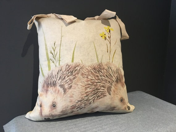 Hedgehog Cushion with Yellow Back and Linen Ties, Complete with Duck Down Feather Insert