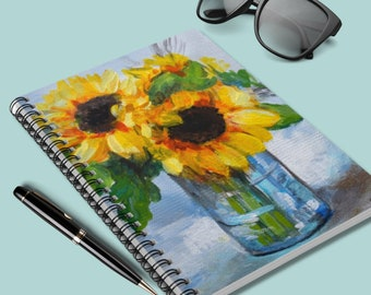 Flower Spiral Notebook - Ruled Lined, Notebook for Women, Sunflower Notebook, Sunflower Gifts, Flower Lover Gifts