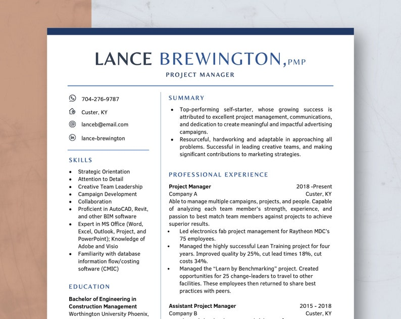 Resume Template for Word and Pages CV Template Modern Resume image 0