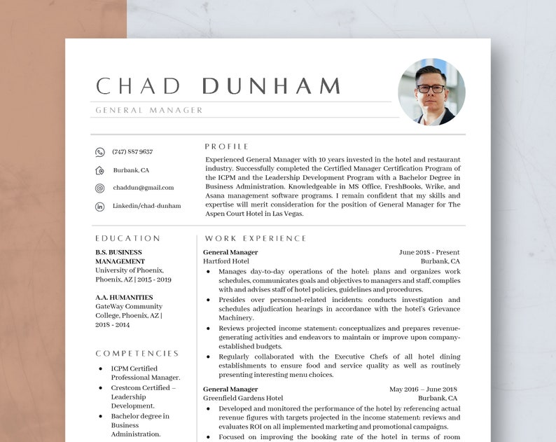 Modern Creative Resume Template Word & Mac Pages Executive image 1