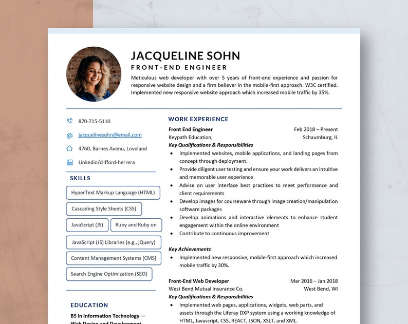 Creative Resume Template for Word & Pages  Manager Resume image 0
