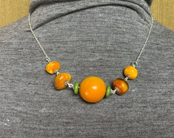 Amber and Sliver Chain Boho Style Necklace