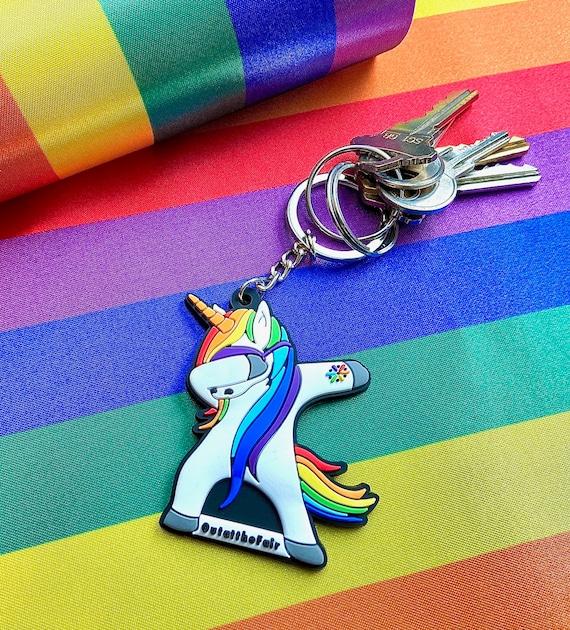 Unicorn Dabbing Colorful Round Keychain Fabulous Keychain