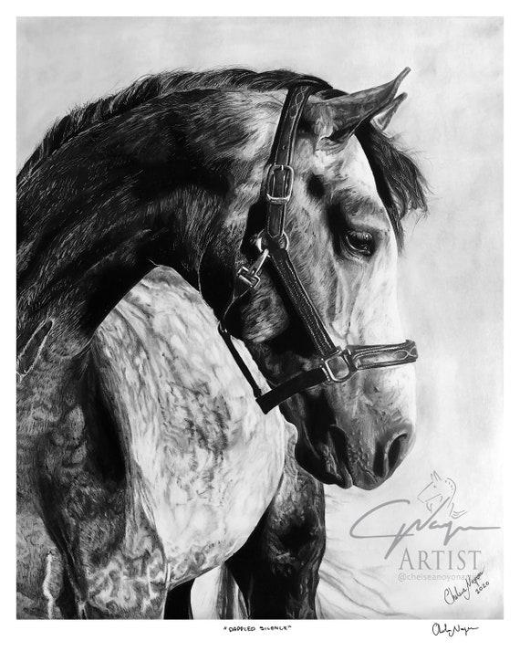 Graphite Equine Art Fade Resistant Art Print of Pencil Drawing Rest Easy by Artist Chelsea Noyon Animal Horse Artwork Pet Portrait