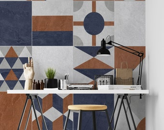 Colorful Retro Tile Pattern Wall Design Wallpaper Mural, Peel and stick & Traditional Paper by Giffy Walls
