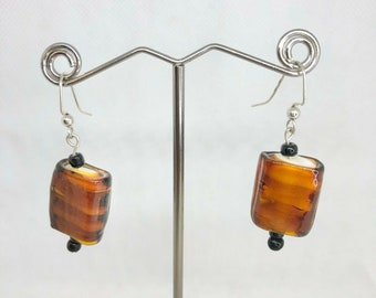 Handcrafted Beaded Earrings Brown & Black Glass Beads Silver Hooks Jewelry NEW