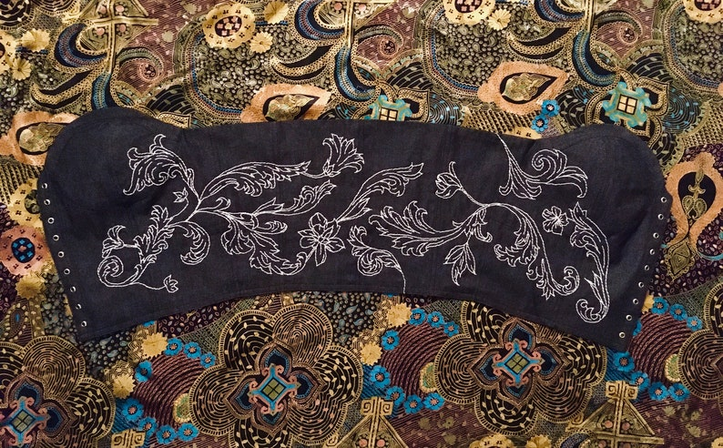 Eden Hand embroidered black denim bustier size S vintage look.