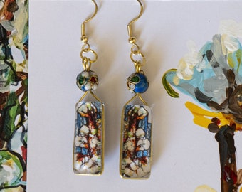 Artistic earring, stained glass effect, Glass and Sober pendant, evening, Young Little Woman, shipped International, Sarah N Creations