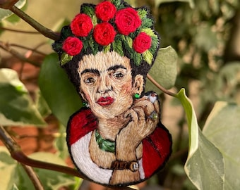 Frida Kahlo Brooch Embroidery, Portrait Pins and Flower, Young Woman Small, Shipped International, The Makery and Sarah N Creations