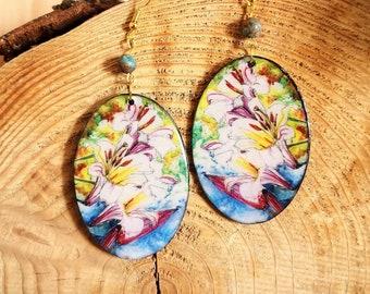 Boho Chic Earring, Fleur de Lys, Artistic Romantic Pendant Pendant, Boho Pendant Jewel, Yellow Blue Color, Sarah N Creations