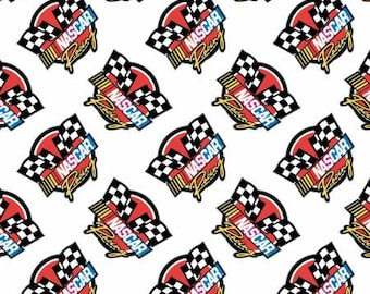 100% Cotton - IN STOCK! - White Nascar Retro Racing #39190106-1 - Camelot Fabrics NASCAR - Licensed - 1 yard piece