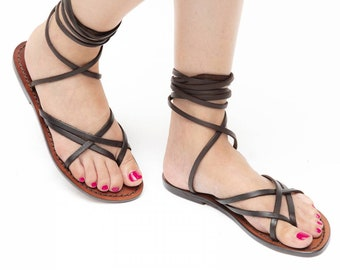 Women/'s Strappy leather slave thong sandals Handmade in Italy in vintage cuir
