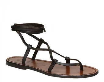L/'artigiano del cuoio Red nubuck flat strappy sandals for women handmade in Italy Gianluca