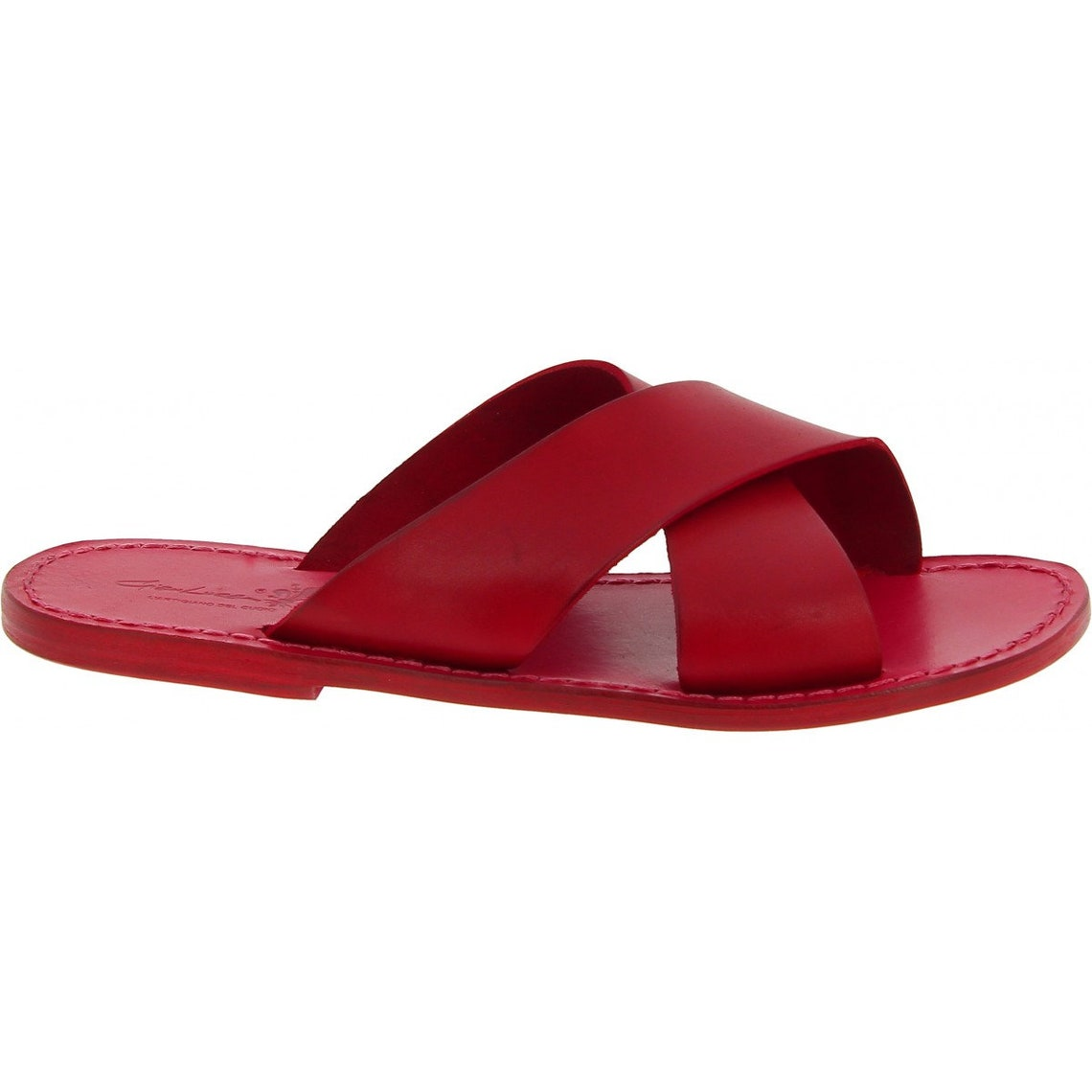 Men's leather slippers handmade in Italy in red leather |